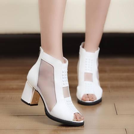 Mr.benyou女鞋2015新款女凉鞋性感高跟单鞋粗跟防水台网纱鱼嘴鞋女 S2
