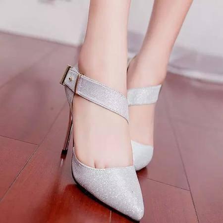MR.BENYOU2015新款金银色女鞋性感尖头细跟高跟黑色包头女凉鞋职业OL单鞋魔术贴Z