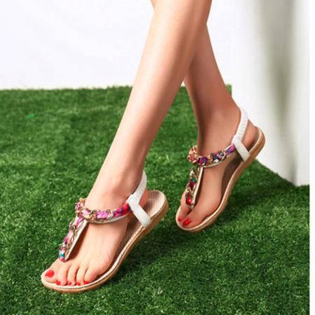 Mr.benyou 2105夏季女鞋新款波西米亚 夹趾平低女士拖鞋女凉鞋C