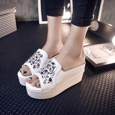Mr.benyou2015夏季鞋新款欧美女拖鞋松糕底露趾高跟水晶钻舒适时尚百搭休闲女拖鞋J