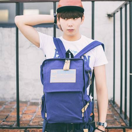 Mr.benyou2015夏季箱包新款韩版学院风帆布双肩包大容量男女士背包潮包 Q