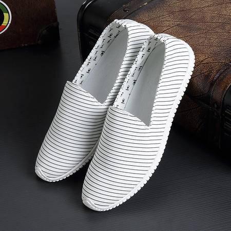Mr.benyou2015夏季新款男士帆布鞋板鞋条纹低帮透气韩版休闲潮一脚蹬懒人鞋 S4
