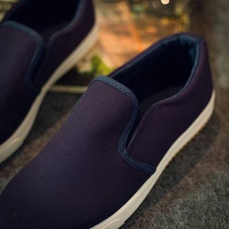 Mr.benyou2015夏季新款复古纯色简约套脚男士帆布鞋一脚蹬懒人鞋乐福鞋透气S4
