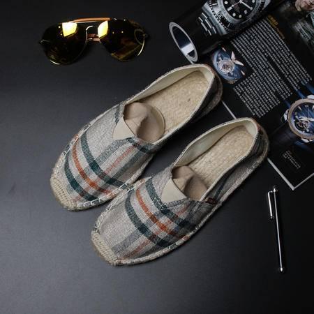 Mr.benyou2015夏季新款日系复古布鞋 格子布鞋 懒人套脚鞋一脚蹬男鞋套脚鞋 S4
