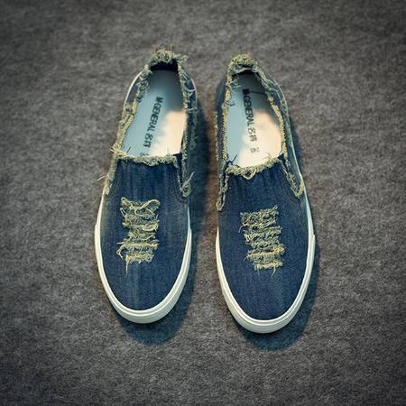 Mr.benyou2015夏季新款男式破洞乞丐鞋 韩版潮简约低帮牛仔帆布鞋 休闲布鞋S4
