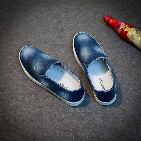 Mr.benyou2015夏季男士透气套脚鞋日系牛仔休闲帆布鞋青年纯色平跟布鞋男鞋 S4