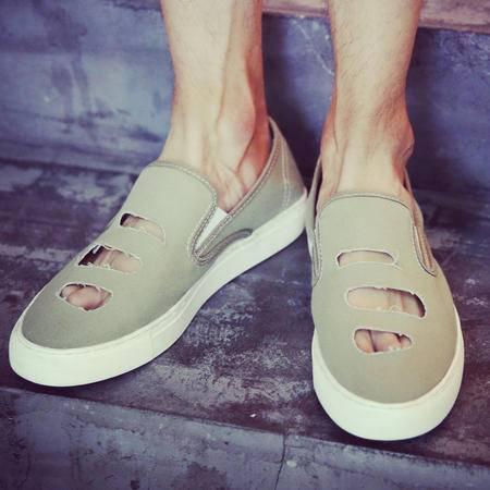 Mr.benyou2015夏季新款 舒适透气破洞设计帆布鞋 男士懒人鞋乐福鞋板鞋男帆布鞋Y