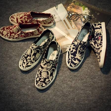 Mr.benyou2015新款男鞋印花民族风帆布鞋一脚蹬中国风板鞋古典花纹休闲布鞋 S4