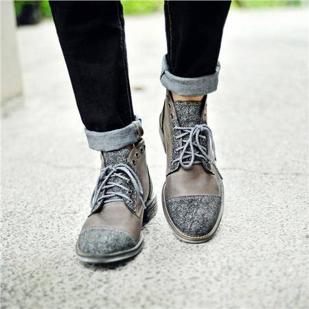 MR.benyou2015秋冬新款英伦复古布洛克真皮高帮靴子日系做旧擦色磨砂皮男鞋LL