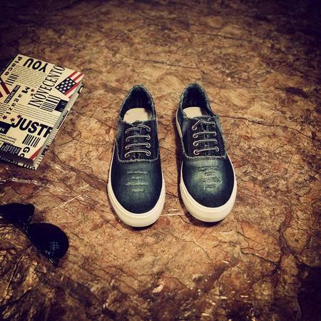 MR.benyou2015秋冬新款 男鞋系带破洞牛仔鞋男鞋时尚休闲个性韩版潮流鞋LL