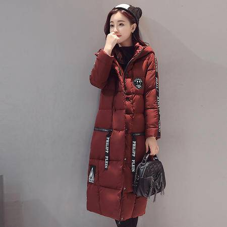 臣韵 2016年冬季长袖加厚中长款甜美连帽拉链棉衣