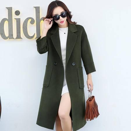 臣韵 2016秋冬新款纯色气质毛呢外套女韩版修身显瘦长款呢子大衣