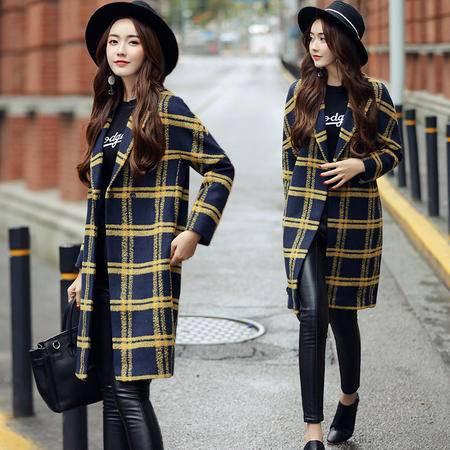 臣韵 2016冬季韩版新款女装格子羊毛外套中长款长袖显瘦毛呢外套大衣潮