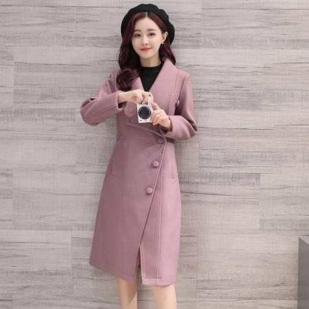 臣韵 2016冬装新款韩版时尚中长款修身羊绒毛呢外套女翻领斗篷呢子大衣