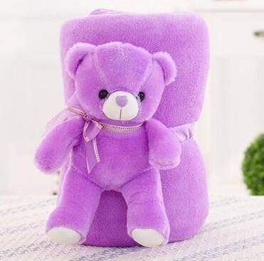 iloop动漫空调毯抱枕被折叠玩偶靠垫午休珊瑚绒毛绒玩具儿童毯子 紫色小熊款 1.7米*2米