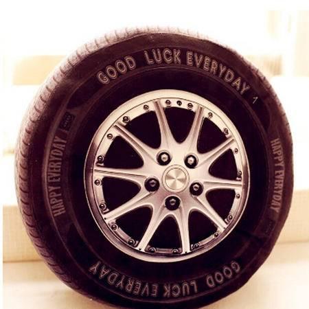 iloop个性创意 逼真3d汽车轮胎轱辘毛绒靠垫 男孩玩具 车载居家抱枕 pp棉汽车轮胎 40cm