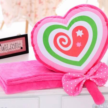 iloop 棒棒糖抱枕被子两用空调被三合一毯子创意毛绒玩具可爱卡通布娃娃