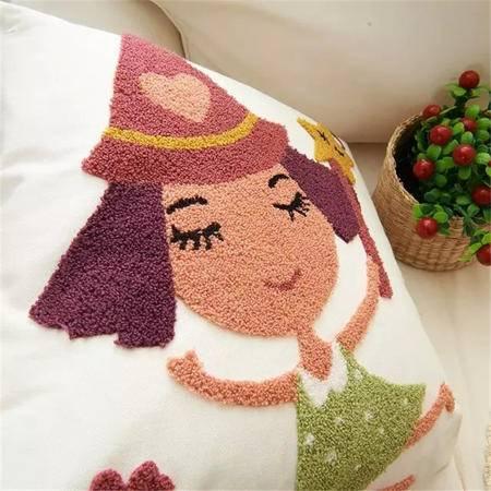 iloop 外贸出口欧美全棉毛线绣花刺绣抱枕沙发座椅靠垫床头靠枕靠背垫套