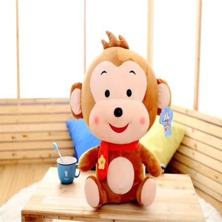 猴子公仔猴年吉祥物毛绒玩具民族风小花布猴玩偶生日新年公司礼品40cm