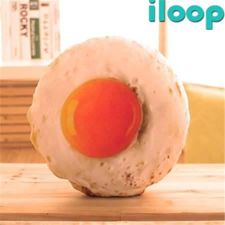 ILOOP 荷包蛋 抱枕靠垫坐垫仿真创意可拆洗午休趴睡枕头办公室煎蛋 35*35cm