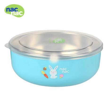 nacnac 宝贝可爱 不锈钢餐碗大餐碗食用级别防烫带盖两用碗宝宝碗 绿色小餐碗nacnac