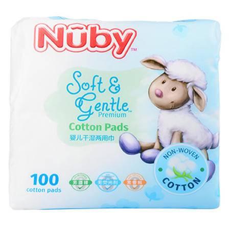 美国nuby努比婴儿棉柔巾 棉宝宝抽纸巾干湿巾干湿两用棉片100片