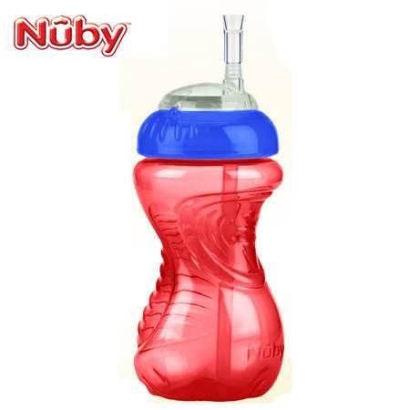 Nuby努比弹性粗吸管杯300ml 纯色 喝水杯 颜色随机