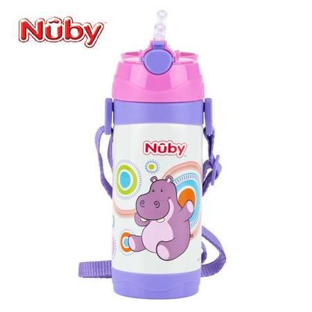 Nuby 努比不锈钢真空按键式保温背带吸管杯