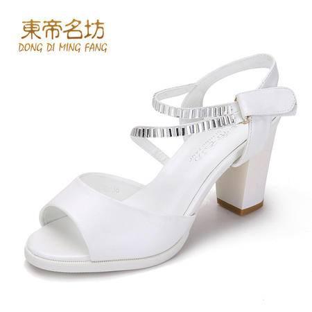 东帝名坊高跟凉鞋女夏水钻甜美鱼嘴凉鞋女防水台粗跟网纱女鞋58736