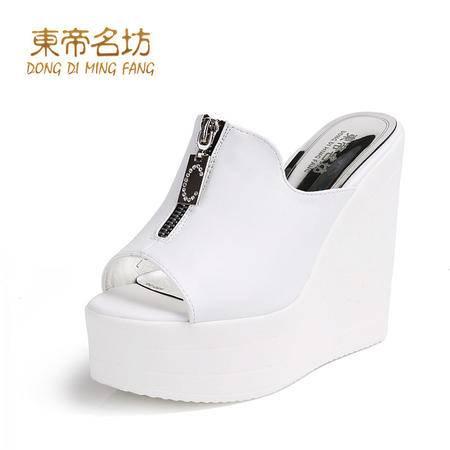 东帝名坊新款夏韩版季时尚透气鱼嘴凉鞋厚底高跟舒适坡跟女鞋58827