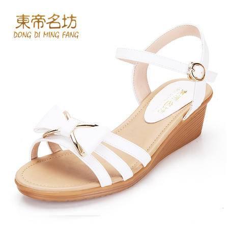 东帝名坊夏季新款蝴蝶结水钻镂空鱼嘴坡跟鞋58771