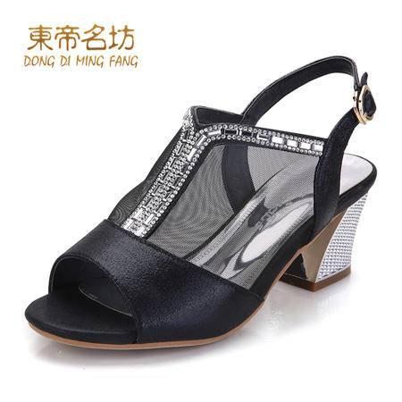 东帝名坊夏季新款网纱搭扣防滑中跟鱼嘴鞋58717