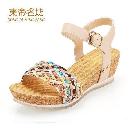 东帝名坊夏防水台女凉鞋厚底坡跟中跟学生凉鞋一字扣露趾凉鞋58720