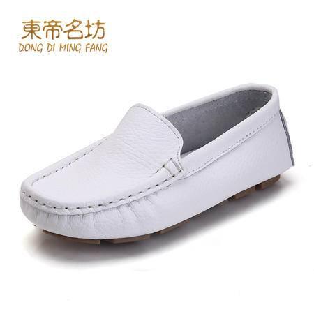 东帝名坊牛二层皮舒适圆头童鞋豆豆鞋59001