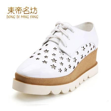 东帝名坊星形镂空方形坡跟鞋58133