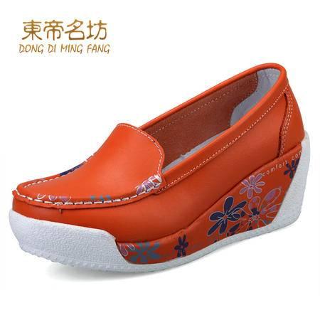 春秋新款松糕鞋厚底休闲鞋女坡跟单鞋女真皮大码女鞋摇摇鞋女