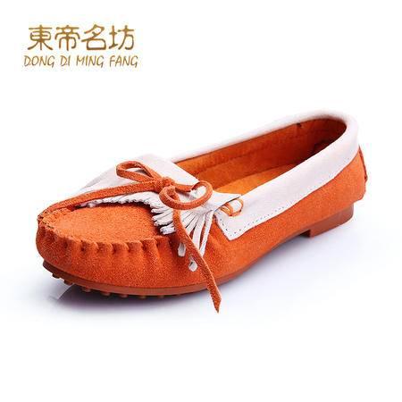 东帝名坊春季新款真皮韩版豆豆鞋女鞋平底孕妇鞋大码休闲单鞋