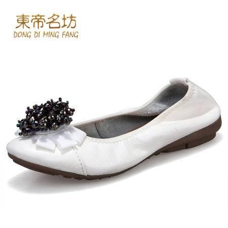 东帝名坊春秋头层牛皮新款女单鞋串珠花朵平跟单鞋女平底鞋女36215