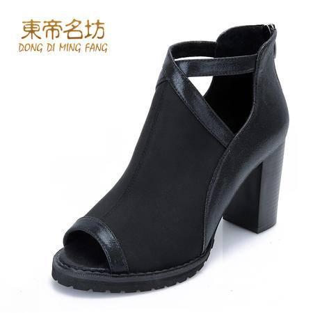 东帝名坊春秋季韩版新款时尚镂空性感拼接鱼嘴高跟粗跟女鞋子53056