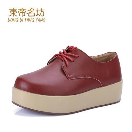 东帝名坊秋冬简约时尚休闲摇摇鞋 真皮系带松糕鞋 舒适中跟女鞋46560