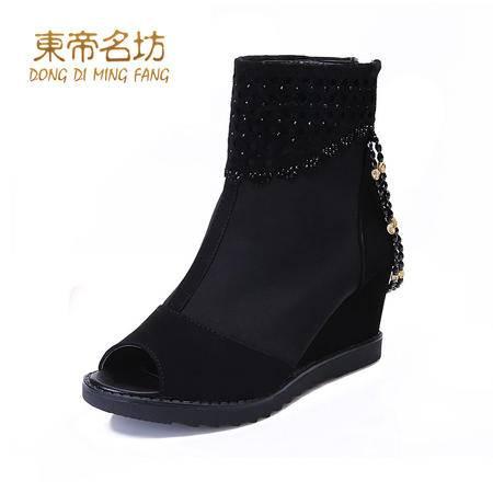 东帝名坊 春秋季新款时尚罗马鱼嘴鞋黑色百搭后拉链舒适坡跟女鞋子43038