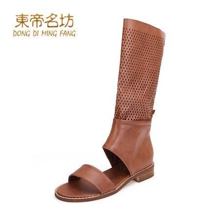 东帝名坊2015秋季新款甜美高帮高筒靴子镂空透气复合底平底鞋包邮43007