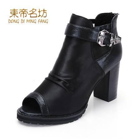 东帝名坊春季新款欧美皮带扣鱼嘴高跟鞋纯色深口后拉链女鞋子潮43035