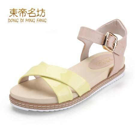 东帝名坊新款露趾女士凉鞋夏防水台透气学生时尚平跟凉鞋女鞋58702