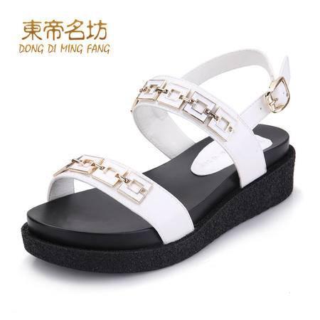 东帝名坊一字鞋面金属搭扣叠层坡跟鞋58762