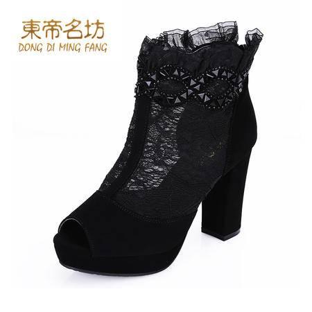 东帝名坊 新款女鞋子蕾丝网纱罗马鞋时尚鱼嘴鞋粗跟高跟女凉鞋43021