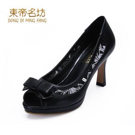 东帝名坊2015新品性感PU鱼嘴鞋甜美蕾丝蝴蝶结防水台高跟低帮单鞋53057