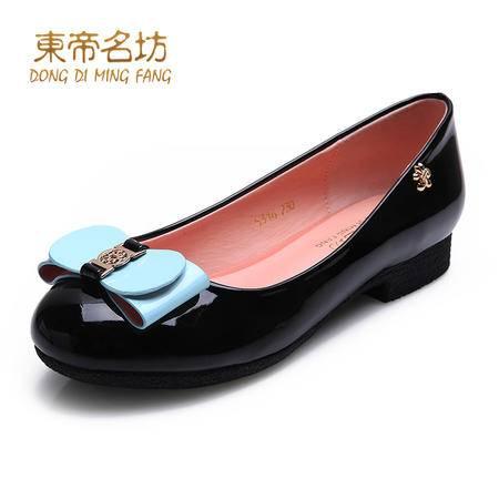 东帝名坊 2015春季新款甜美单鞋圆头平跟蝴蝶结女鞋子浅口公主鞋56652
