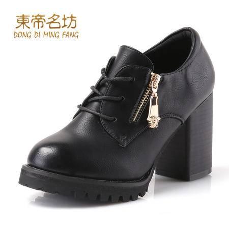 东帝名坊圆头舒适系带休闲鞋拉链粗跟防水台高跟单鞋