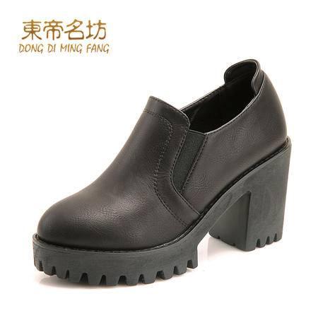 东帝名坊圆头英伦粗跟单鞋女松紧带防水台学生休闲鞋